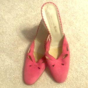 Italian Pink suede heeled slides by Massimo Baldi